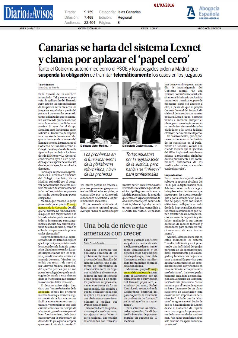 Canarias se harta del sistema Lexnet y clama por aplazar el «papel cero»
